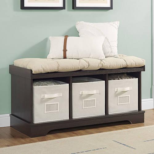 Superbe Essential 42 Inch Wood Storage Bench W/ Totes U0026 Cushion   Espresso