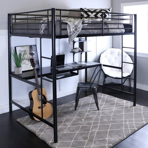 Metal Full Loft Bed With Workstation Black By Walker Edison