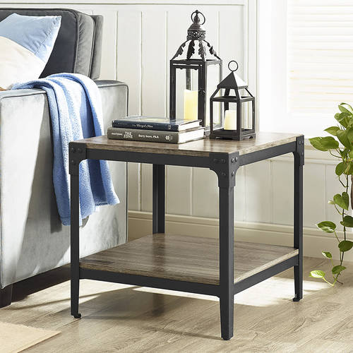 & Angle Iron Rustic Wood End Table (Set of 2) - Driftwood by Walker Edison