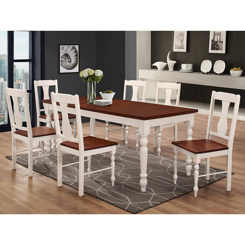 Two Toned Solid Wood 7 Piece Dining Set Brown White