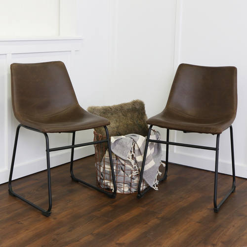 Dining Chairs Brown faux leather dining chairs (set of 2)walker edison