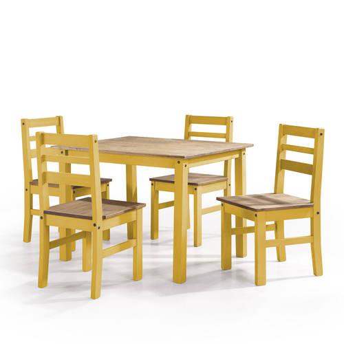 Maiden Yellow Wash 5 Piece Solid Wood Dining Set By Manhattan Comfort