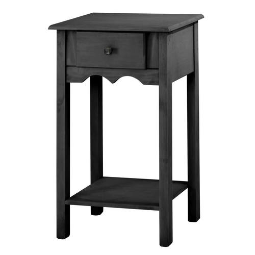 Jay Black Wash 35.43 Inch Tall End Table W/ 1 Full Extension Drawer