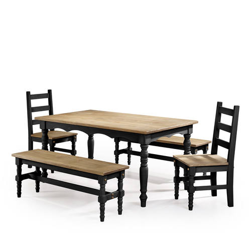 Jay Black Wash 5 Piece Solid Wood Dining Set By Manhattan Comfort