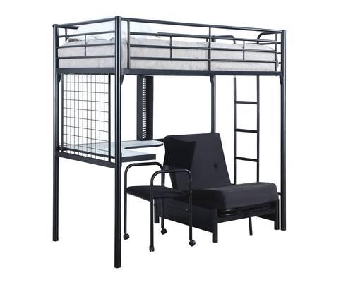 Jenner Futon Contemporary Metal Loft Bunk Bed W Desk By Coaster