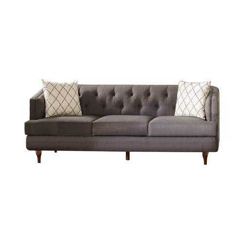 Shelby Gray Brown Recessed Arms, Tufted Back Sofa