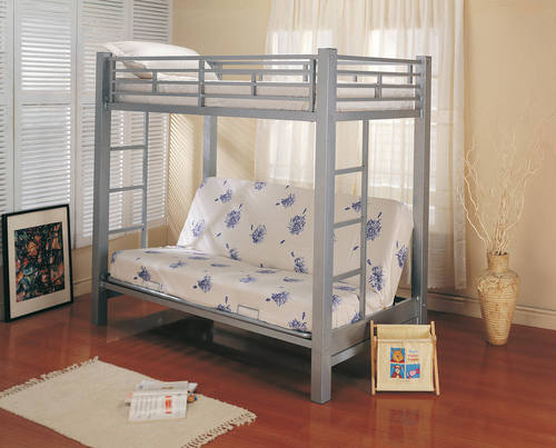 pretty nice 98b6a a96e7 Youth Metal Glossy Silver Bunk Bed by Coaster