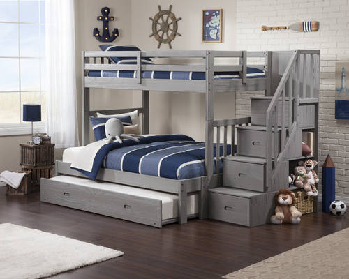 Cascade Brushed Grey Bunk Bed W Staircase By Atlantic Furniture