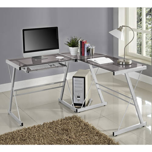 pcs Contemporary Computer Desk SilverSmoke by Walker Edison