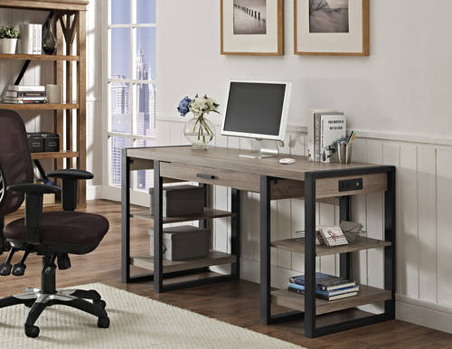 Urban Blend 60 Inch Computer Storage Desk Driftwood Black