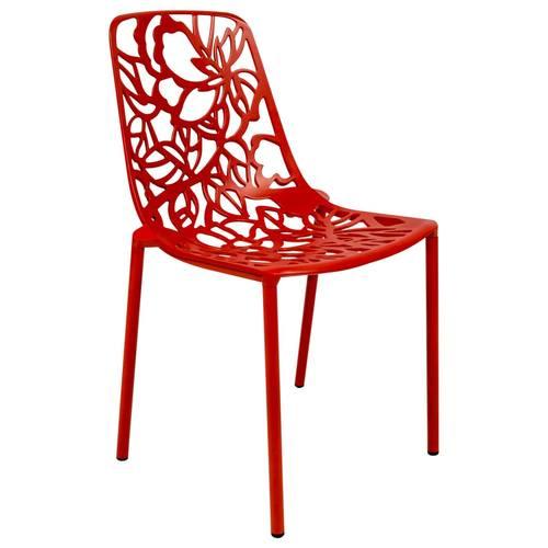 Superieur Devon Modern Aluminum Red Armless Chair