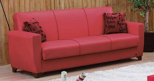 Dallas Red Leather Sofa Bed by Empire Furniture USA