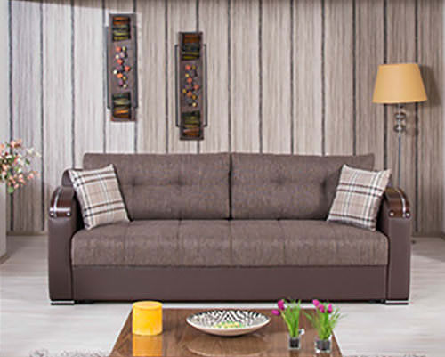 Deluxe Kalinka Brown Convertible Sofa Bed By Casamode - Divans convertibles