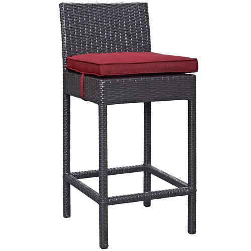 Convene Outdoor Patio Fabric Bar Stool Espresso Red
