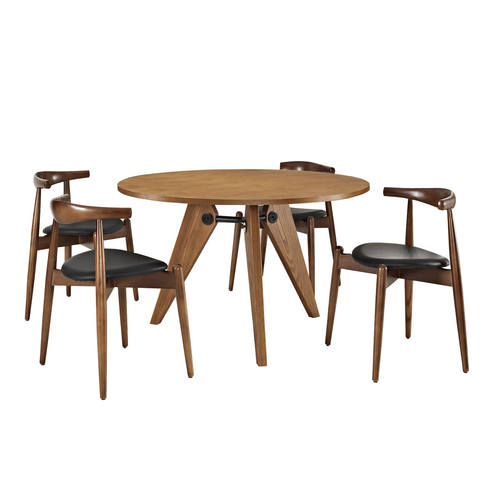 Stalwart Dining Chairs And Table Set Of 5 Dark Walnut Black