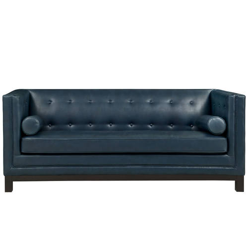 Bonded Leather Sofa Blue By Modway