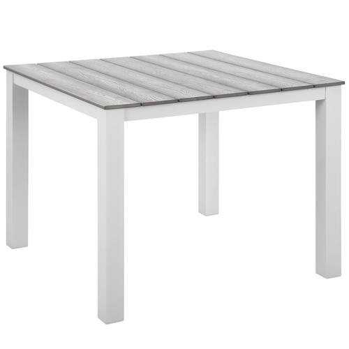Maine 40 Inch Outdoor Patio Dining Table White Light Gray