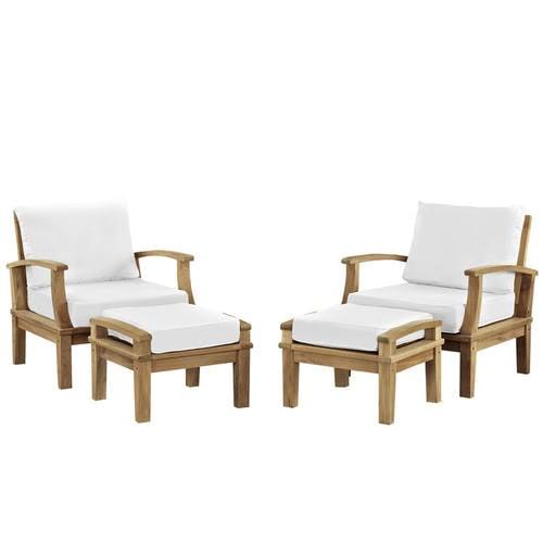 Marina 4 Piece Outdoor Patio Teak Sofa Set Natural White