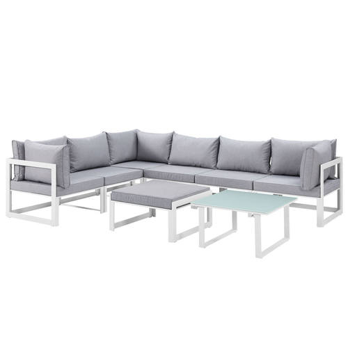 Cool Fortuna 8 Piece Outdoor Patio Sectional Sofa Set White Gray By Modern Living Customarchery Wood Chair Design Ideas Customarcherynet