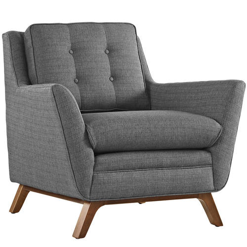 Beguile Upholstered Fabric Armchair Gray By Modway