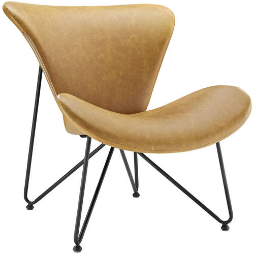 Good Glide Faux Leather Lounge Chair Tan