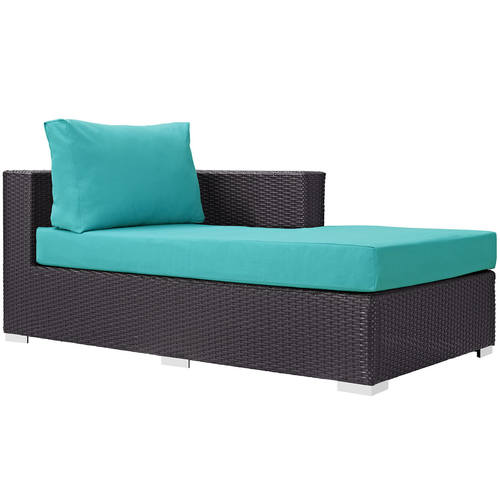 Convene Outdoor Patio Fabric Right Arm Chaise Espresso Turquoise By Modway
