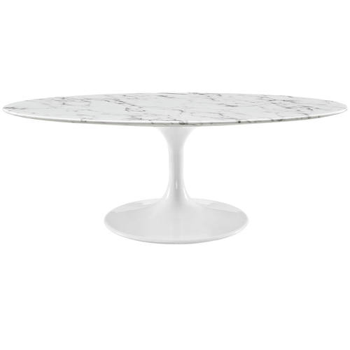 48 Inch OvalShaped Artificial Marble Coffee Table White by Modway