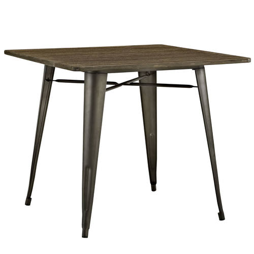 alacrity 36 inch square wood dining table brown by modway - Square Wood Dining Table