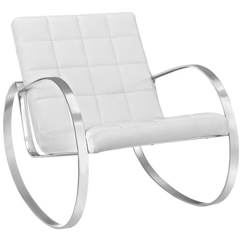 gravitas upholstered vinyl lounge chair white by modway