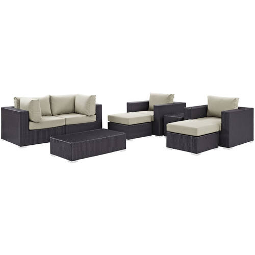 Convene 8 Piece Outdoor Patio Sectional Set Espresso Beige
