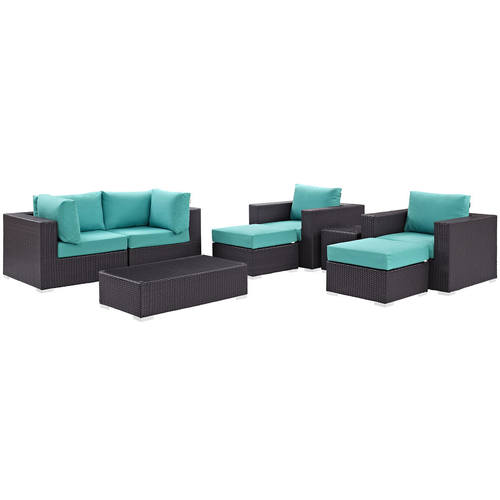 Convene 8 Piece Outdoor Patio Sectional Set Espresso Turquoise