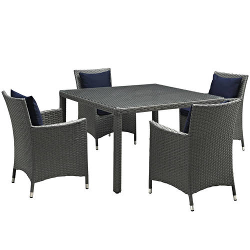Sojourn 5 Piece Outdoor Patio Sunbrella Dining Set Canvas Navy