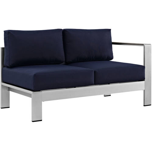 Superbe Shore Right Arm Corner Sectional Outdoor Patio Aluminum Loveseat Silver Navy