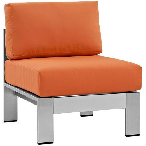 Shore Armless Outdoor Patio Aluminum Chair Silver Orange