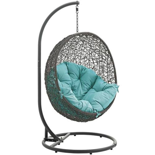 Hide Outdoor Patio Swing Chair With Stand Gray Turquoise
