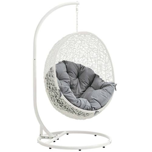 Hide Outdoor Patio Swing Chair With Stand White Gray By Modway