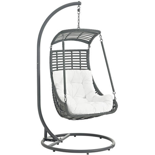 Jungle Outdoor Patio Swing Chair With Stand White By Modway