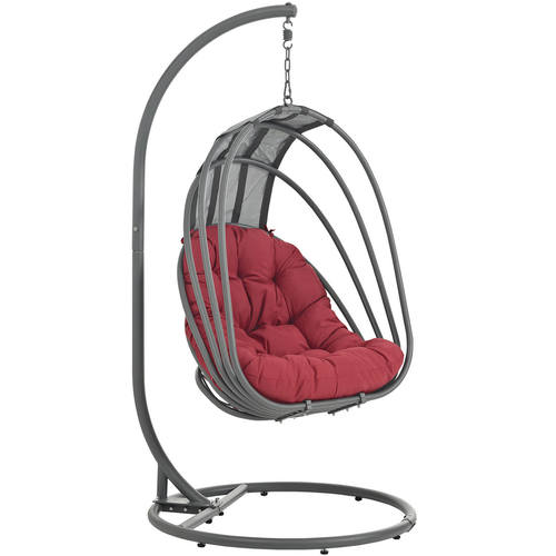 Whisk Outdoor Patio Swing Chair With Stand Red