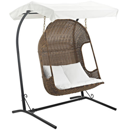 Vantage Outdoor Patio Swing Chair Brown White