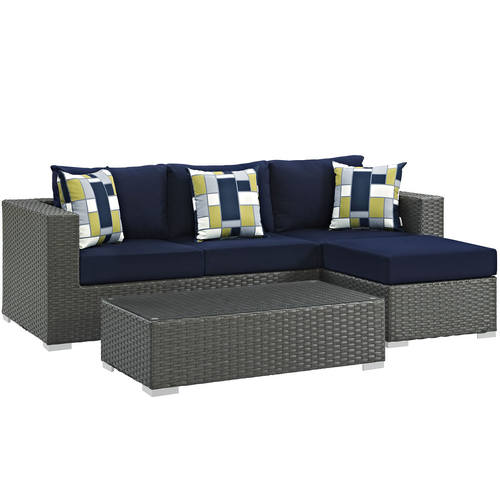 Sojourn 3 Piece Outdoor Patio Sunbrella Sectional Set Canvas Navy