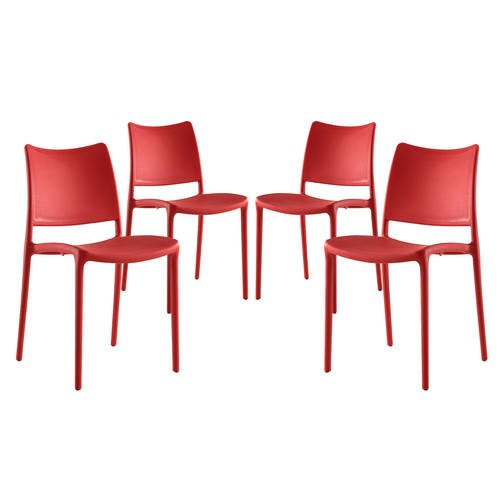 Hipster Dining Side Chair Set Of 4 Red