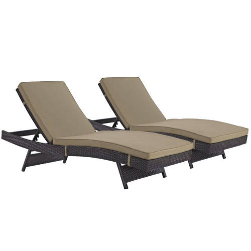 Convene Chaise Outdoor Patio Set Of 2 Espresso Mocha