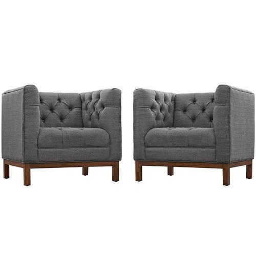 Panache Living Room Set Upholstered Fabric Set Of 2 Gray