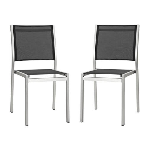 Shore Side Chair Outdoor Patio Aluminum Set Of 2 Silver Black