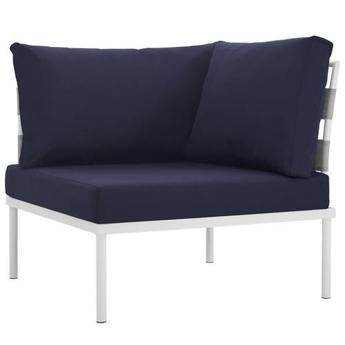 Harmony Outdoor Patio Aluminum Corner Sofa White Navy