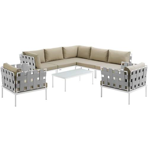 Harmony 8 Piece Outdoor Patio Aluminum Sectional Sofa Set White Beige