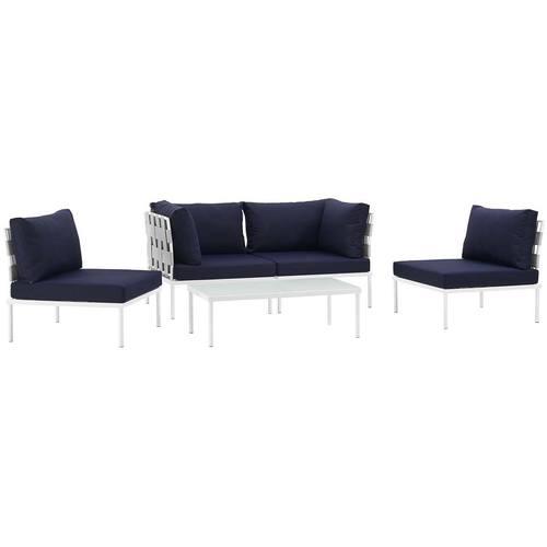 Harmony 5 Piece Outdoor Patio Aluminum Sectional Sofa Set White Navy