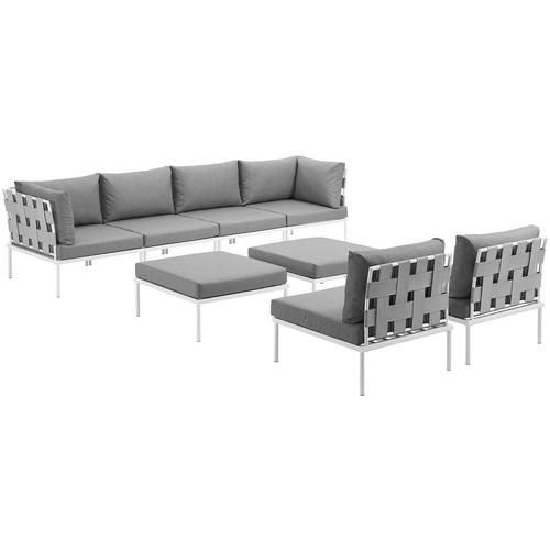 Harmony 8 Piece Outdoor Patio Aluminum Sectional Sofa Set White Gray