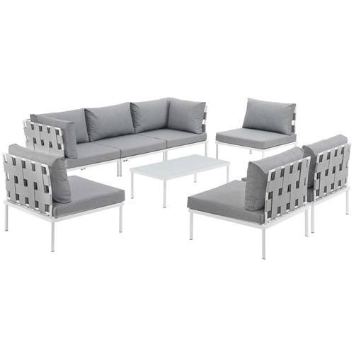 Wondrous Harmony 8 Piece Outdoor Patio Aluminum Sectional Sofa Set Customarchery Wood Chair Design Ideas Customarcherynet