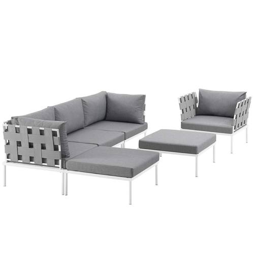 Harmony 6 Piece Outdoor Patio Aluminum Sectional Sofa Set White Gray